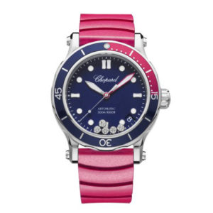Chopard - HAPPY SPORT LADIES ST, BLUE DIAL RED STR