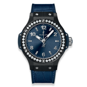 Hublot - BIG BANG 38, QUARTZ BLK CERAM, DIAM BEZ