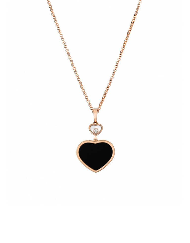 Chopard - PENDANT HAPPY HEARTS RG 1MOV DIAM, ONYX