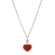 Chopard - PENDANT - HAPPY HEARTS 1DIAM, RED INLAY