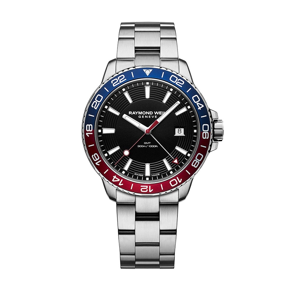 Raymond Weil - TANGO GENTS STEEL BLACK DIAL, BLU/RED BZ