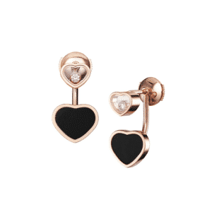 Chopard - HAPPY HEARTS EARRINGS RG ONYX