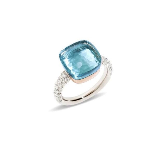 Pomellato - NUDO RING W/PG BLUE TOPAZ DIAM