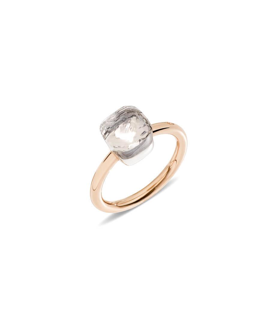 POMELLATO Nudo Rhodium-Plated Diamond Ring, Size 54