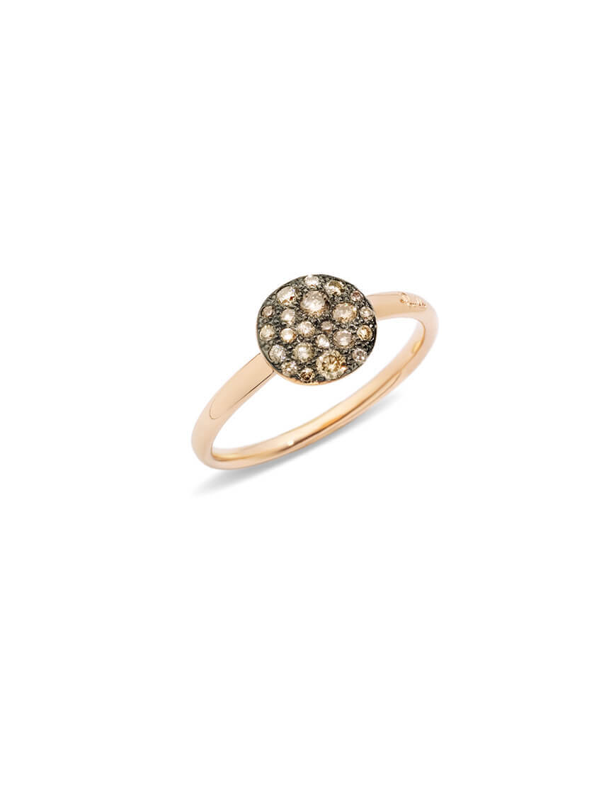 POMELLATO Sabbia Rose Gold & Brown Diamond Ring, Size 54
