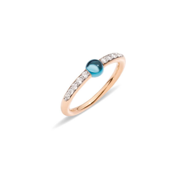 Pomellato - MNM RING RG BLUE LONDON TOPAZ DIAM 53
