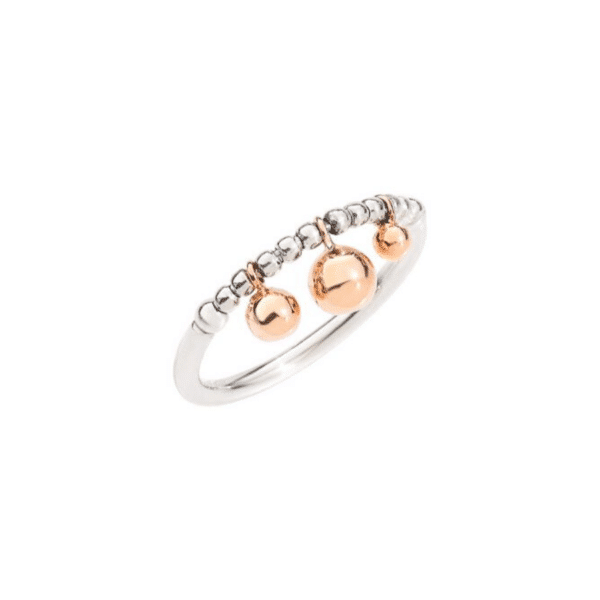 Dodo - RING BOLLICINE SILVER WITH RG SPHERES-55