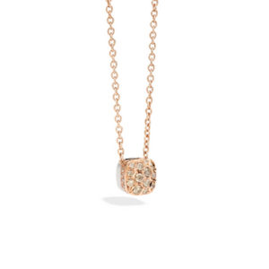 Pomellato - NUDO PENDANT WITH CHAIN RG BROWN DIAM
