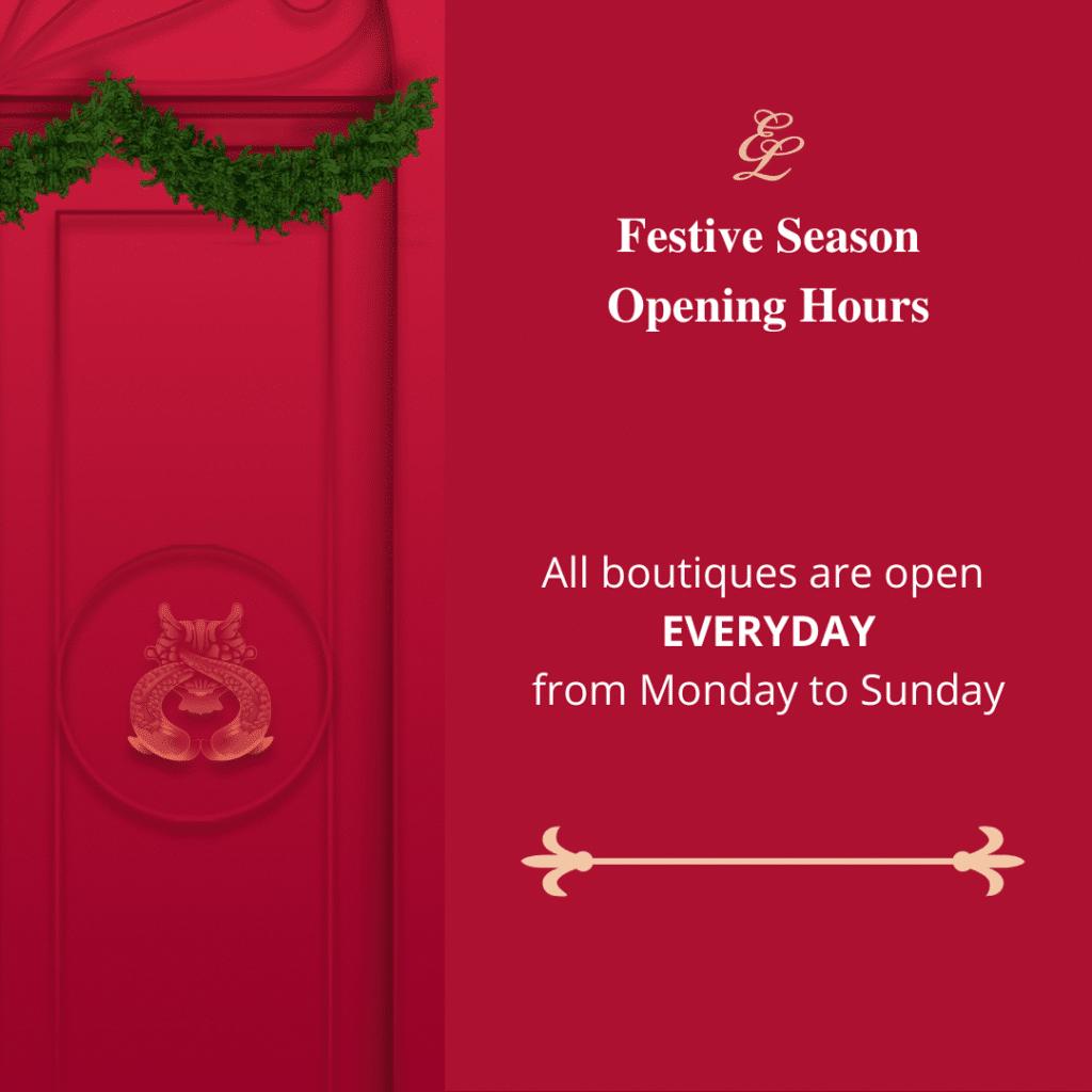 Festive season opening hours