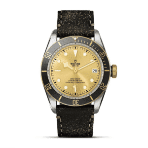 BLACK BAY STEEL & GOLD in LEATHER STRAP